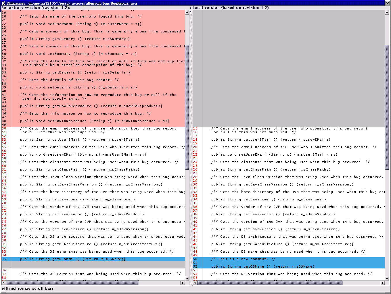 Differences window